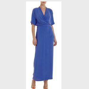 Diane von Furstenberg  wrap blue silk maxi dress